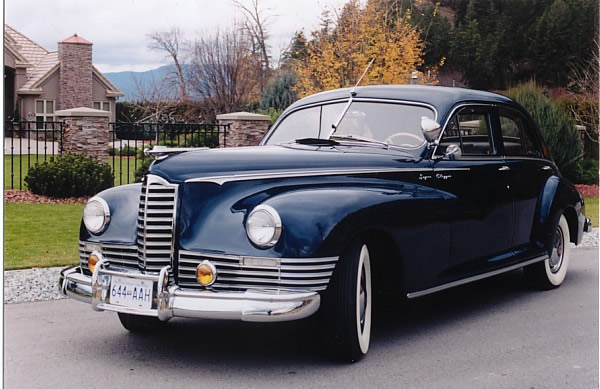 1947 Packard Super Clipper (Model 2172) finished in the original Coral Blue Metallic paint. Originally purchased by Brewsters Tour Company in Banff, Alberta, used to transport tourists from the train stations and planes in Calgary to Banff.